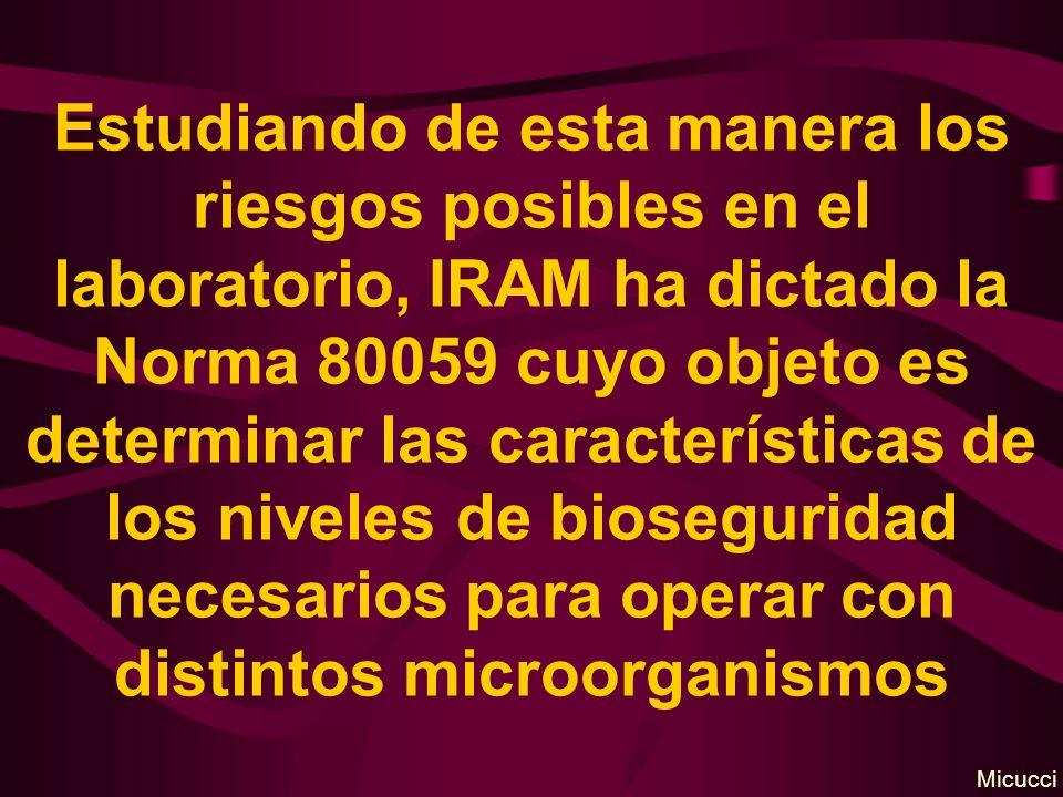 Estudiando de esta manera los riesgos posibles en el laboratorio, IRAM ha dictado la Norma 80059 cuyo objeto es determinar las características de los niveles de bioseguridad necesarios para operar con distintos microorganismos