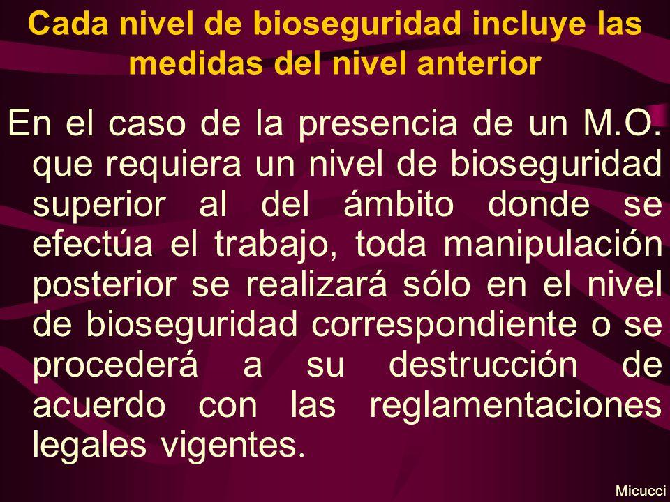 Cada nivel de bioseguridad incluye las medidas del nivel anterior