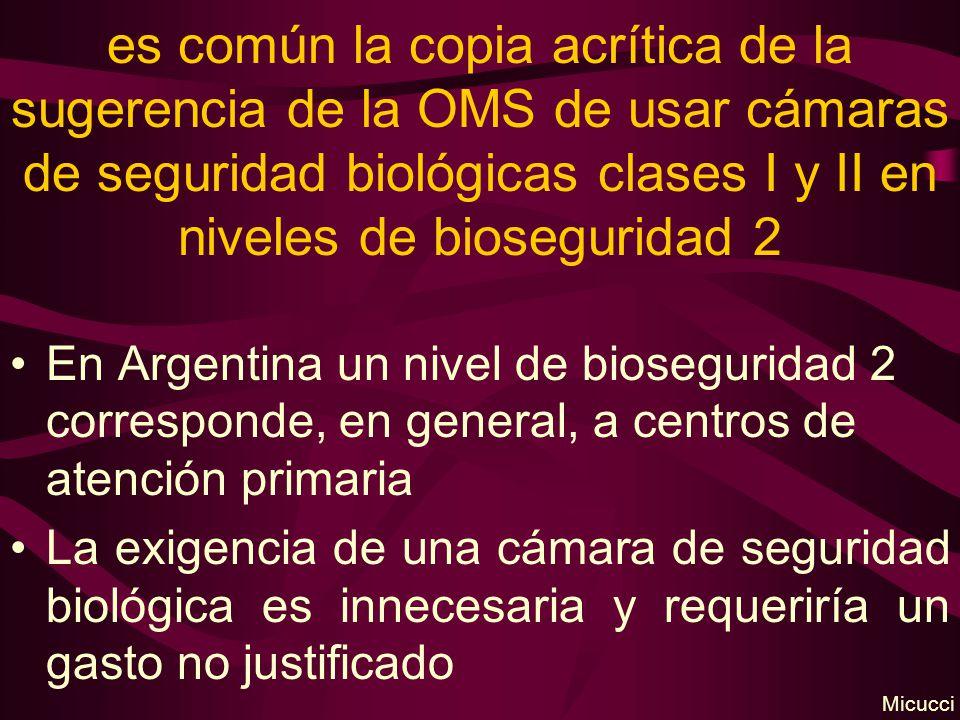 es común la copia acrítica de la sugerencia de la OMS de usar cámaras de seguridad biológicas clases I y II en niveles de bioseguridad 2