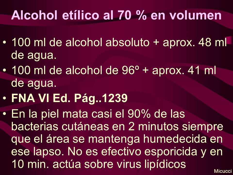 Alcohol etílico al 70 % en volumen