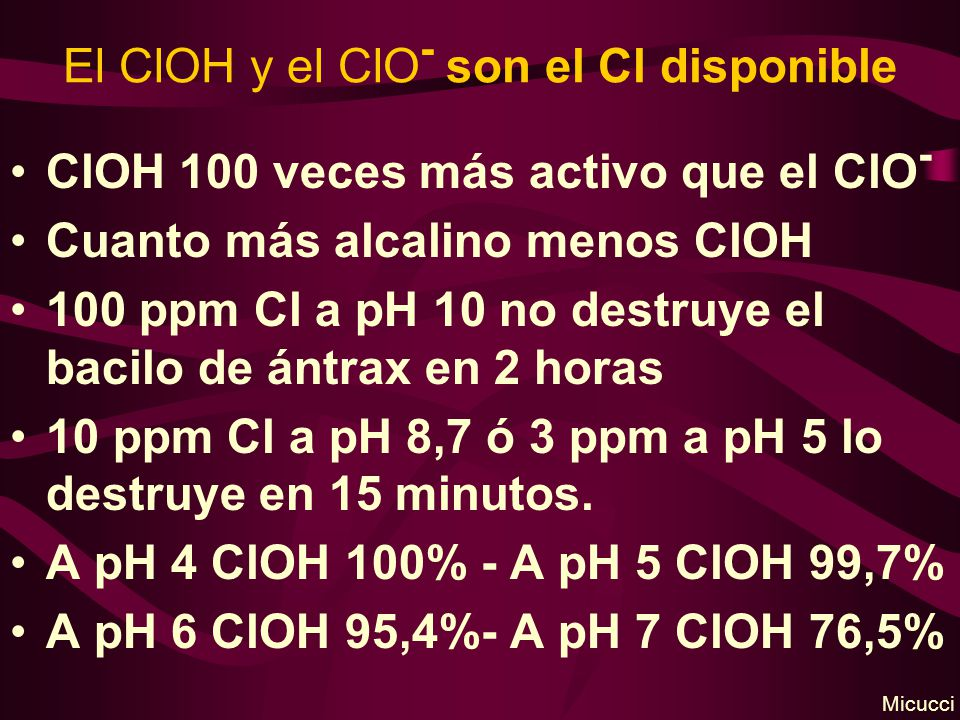 El ClOH y el ClO- son el Cl disponible