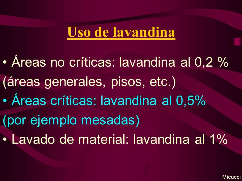 Uso de lavandina Áreas no críticas: lavandina al 0,2 %