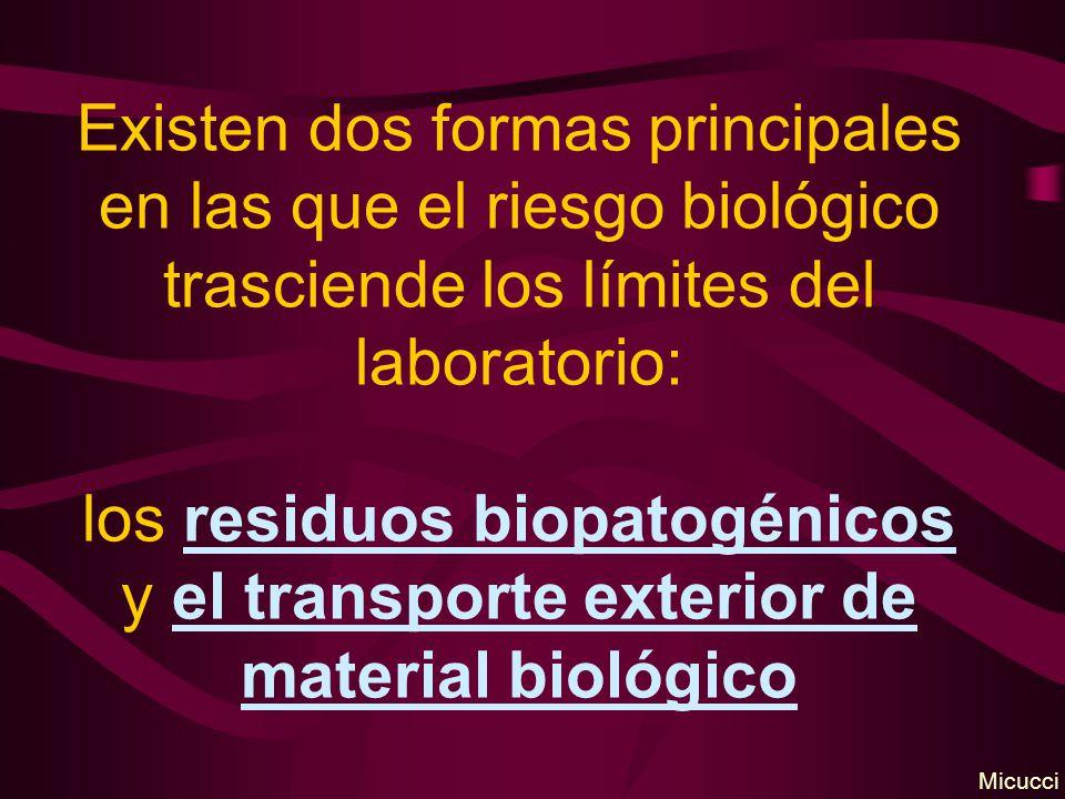 Existen dos formas principales en las que el riesgo biológico trasciende los límites del laboratorio: los residuos biopatogénicos y el transporte exterior de material biológico