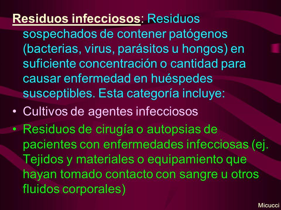 Cultivos de agentes infecciosos