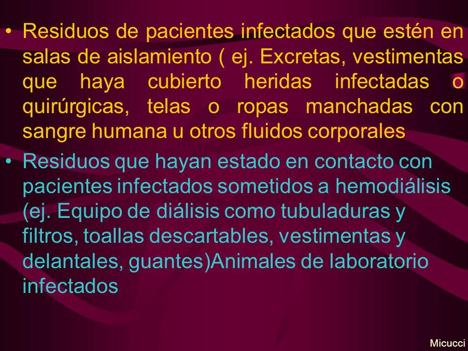 Residuos de pacientes infectados que estén en salas de aislamiento ( ej. Excretas, vestimentas que haya cubierto heridas infectadas o quirúrgicas, telas o ropas manchadas con sangre humana u otros fluidos corporales