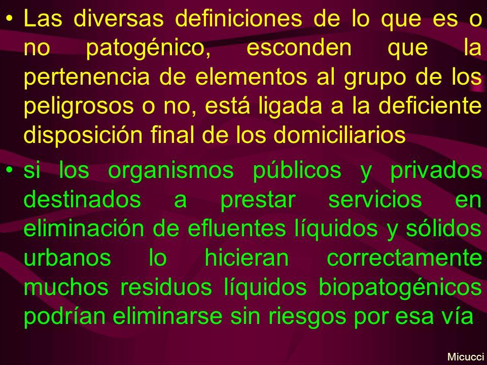 Las diversas definiciones de lo que es o no patogénico, esconden que la pertenencia de elementos al grupo de los peligrosos o no, está ligada a la deficiente disposición final de los domiciliarios