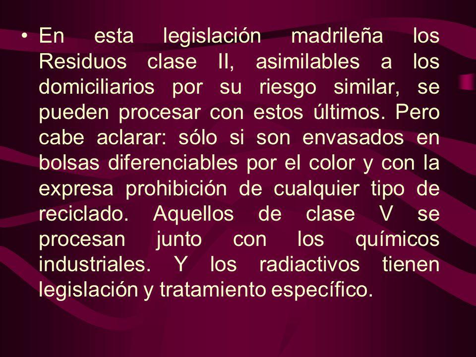 En esta legislación madrileña los Residuos clase II, asimilables a los domiciliarios por su riesgo similar, se pueden procesar con estos últimos.