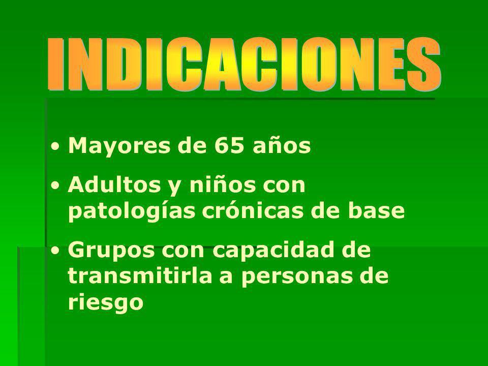 INDICACIONES Mayores de 65 años