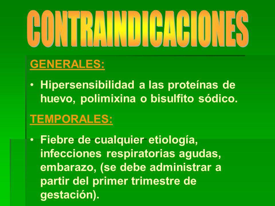 CONTRAINDICACIONES GENERALES: