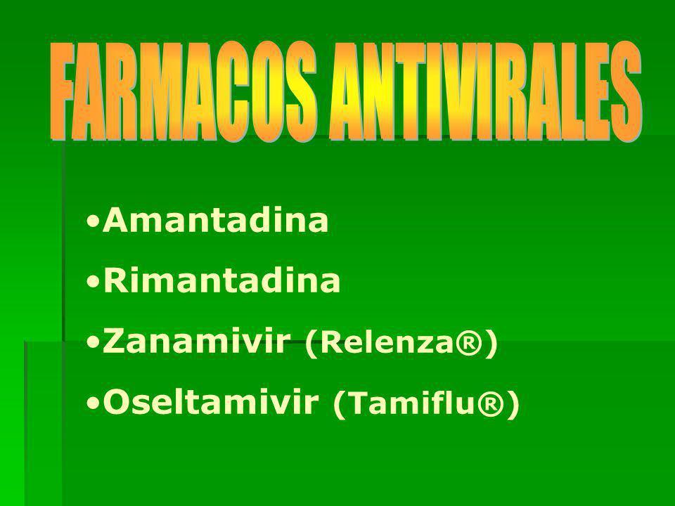 FARMACOS ANTIVIRALES Amantadina Rimantadina Zanamivir (Relenza®) Oseltamivir (Tamiflu®)