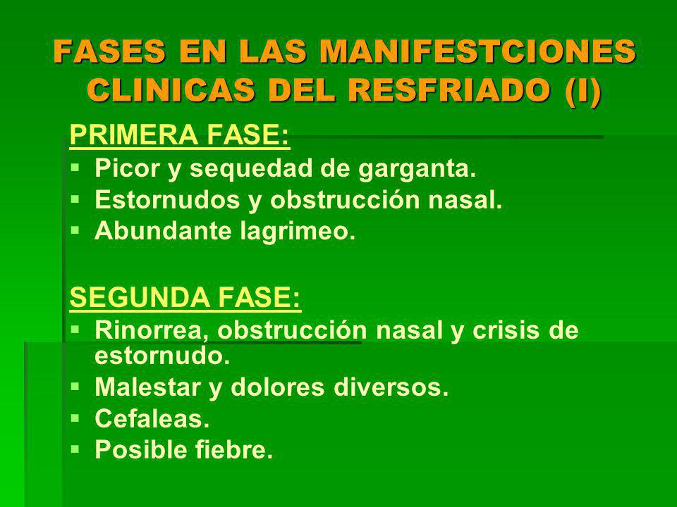 FASES EN LAS MANIFESTCIONES CLINICAS DEL RESFRIADO (I)