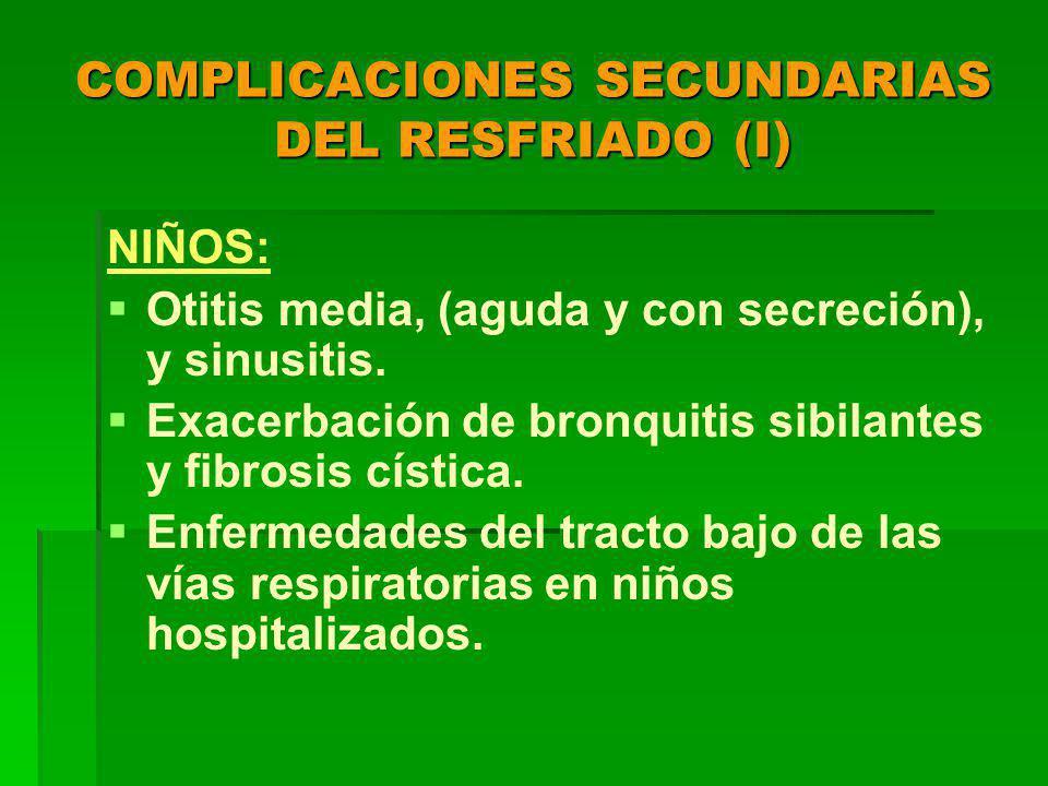 COMPLICACIONES SECUNDARIAS DEL RESFRIADO (I)