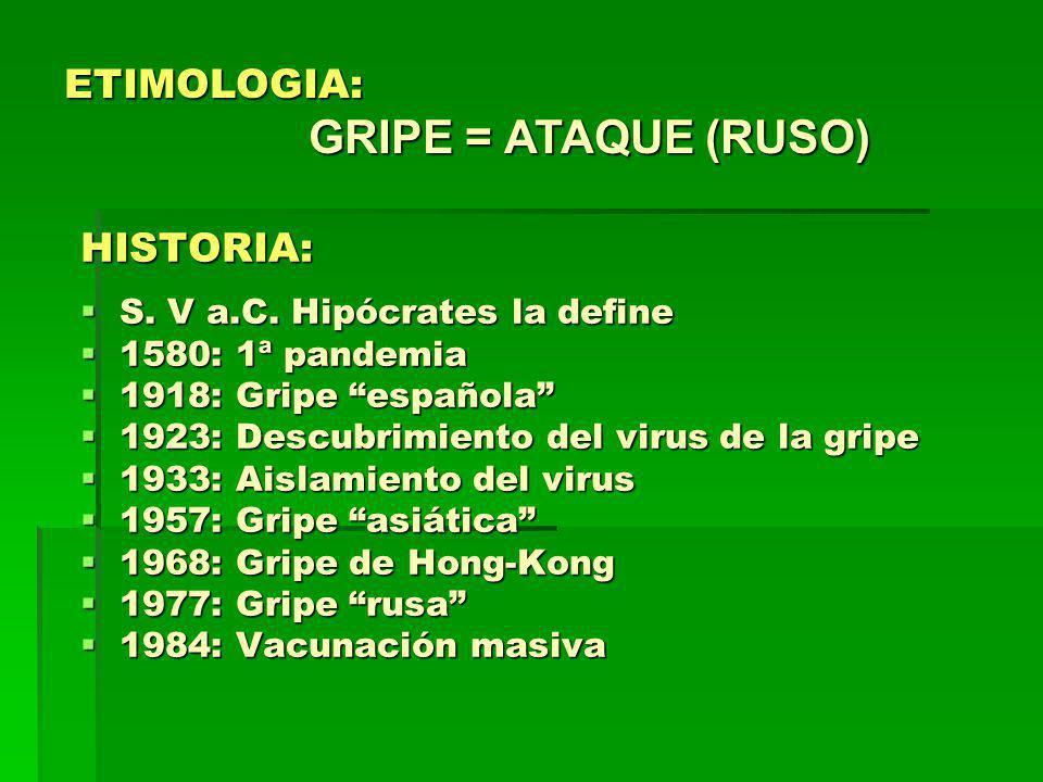 ETIMOLOGIA: GRIPE = ATAQUE (RUSO)