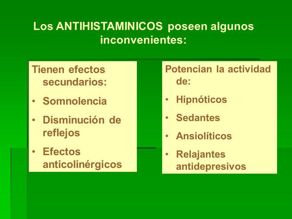 Los ANTIHISTAMINICOS poseen algunos inconvenientes: