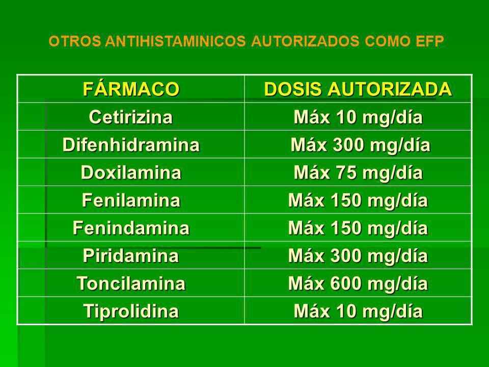 OTROS ANTIHISTAMINICOS AUTORIZADOS COMO EFP