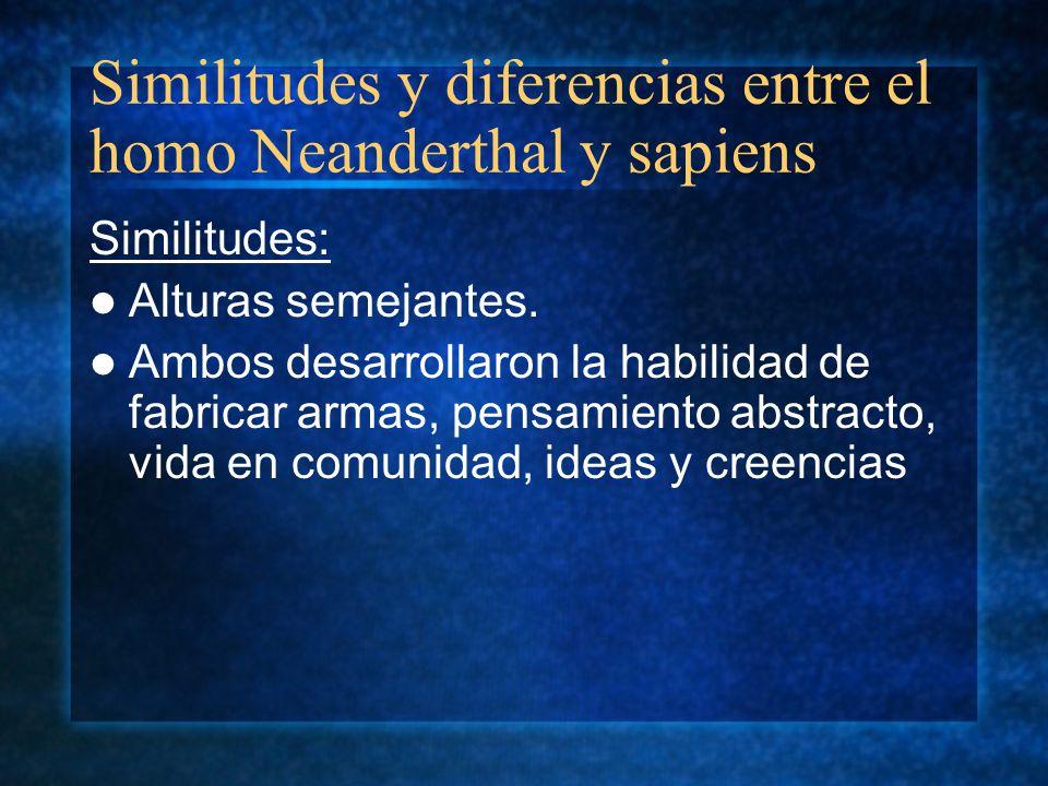Similitudes y diferencias entre el homo Neanderthal y sapiens
