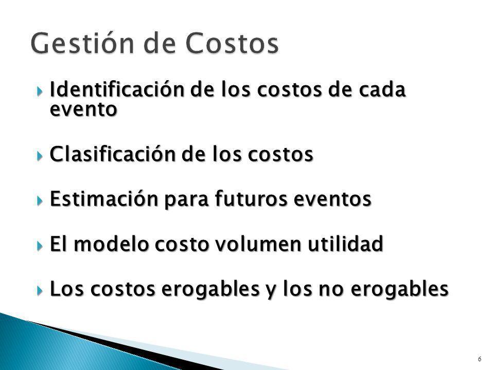 Gestión de Costos Identificación de los costos de cada evento