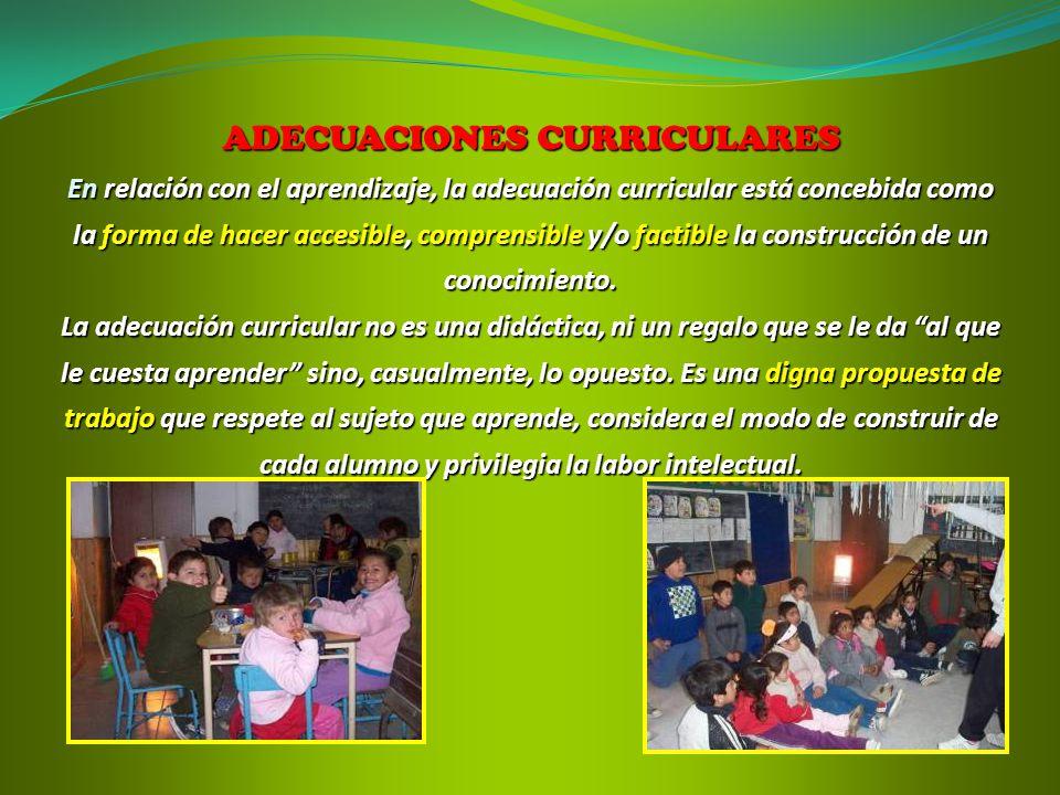 ADECUACIONES CURRICULARES En relación con el aprendizaje, la adecuación curricular está concebida como la forma de hacer accesible, comprensible y/o factible la construcción de un conocimiento.