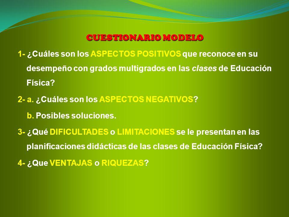 CUESTIONARIO MODELO 1- ¿Cuáles son los ASPECTOS POSITIVOS que reconoce en su desempeño con grados multigrados en las clases de Educación Física
