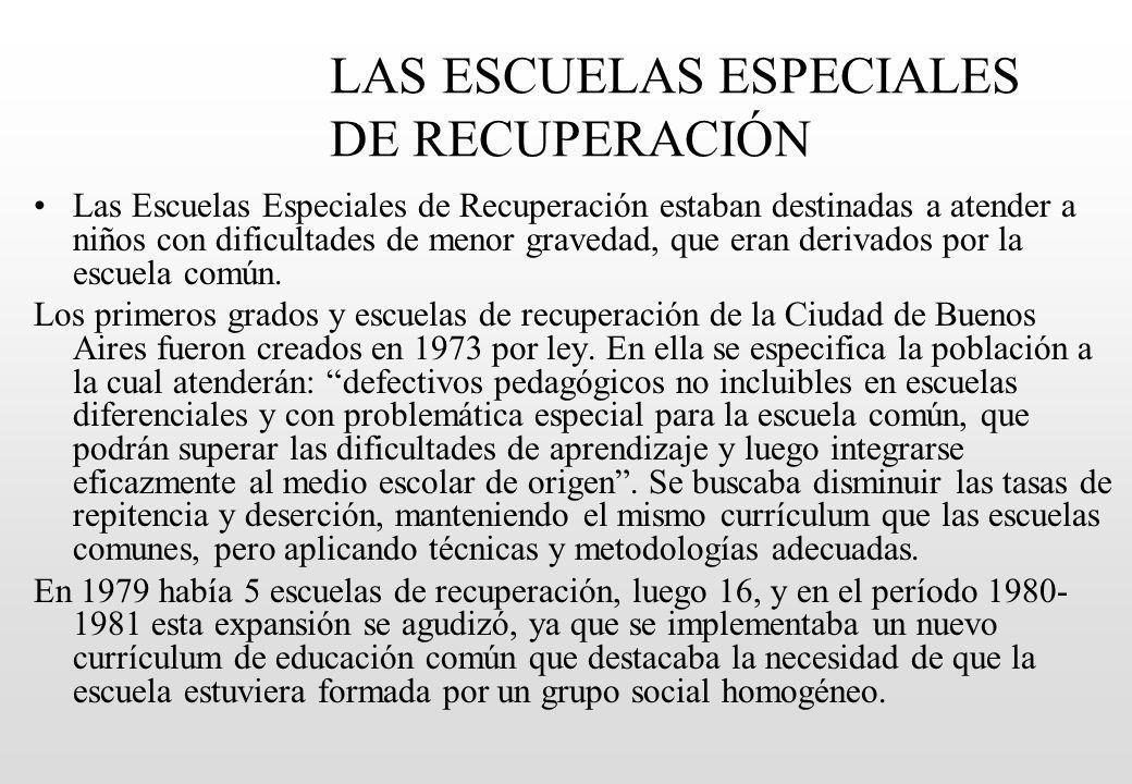 LAS ESCUELAS ESPECIALES DE RECUPERACIÓN