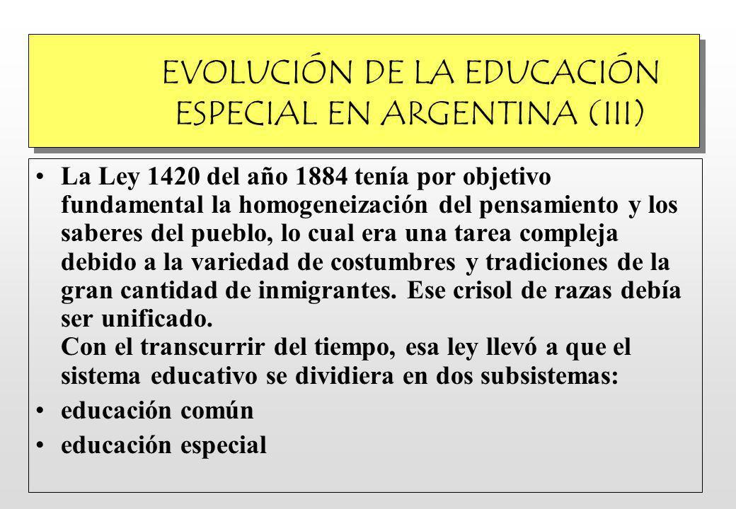 EVOLUCIÓN DE LA EDUCACIÓN ESPECIAL EN ARGENTINA (III)