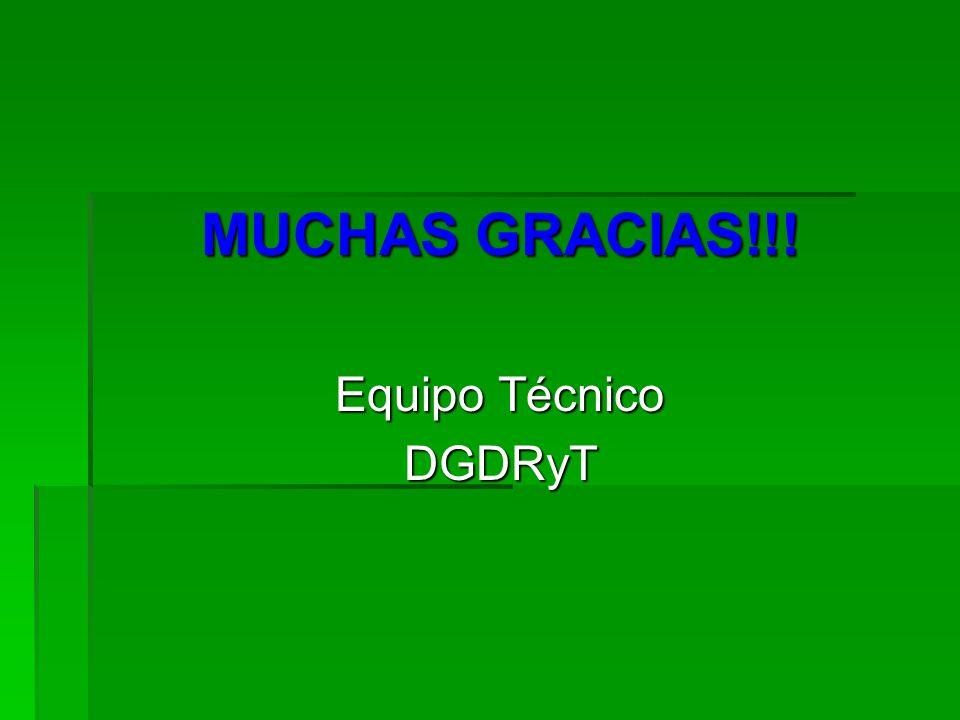 MUCHAS GRACIAS!!! Equipo Técnico DGDRyT