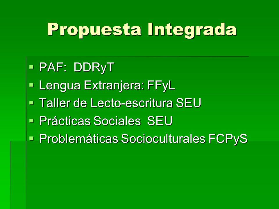 Propuesta Integrada PAF: DDRyT Lengua Extranjera: FFyL