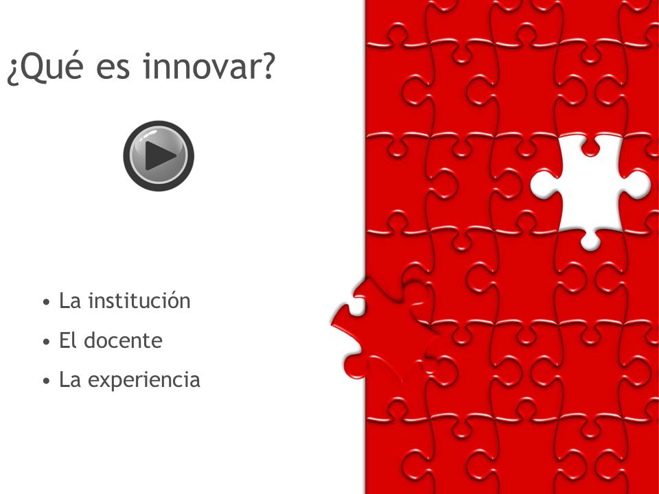 ¿Qué es innovar La institución El docente La experiencia