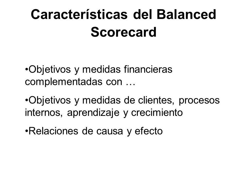 Características del Balanced Scorecard