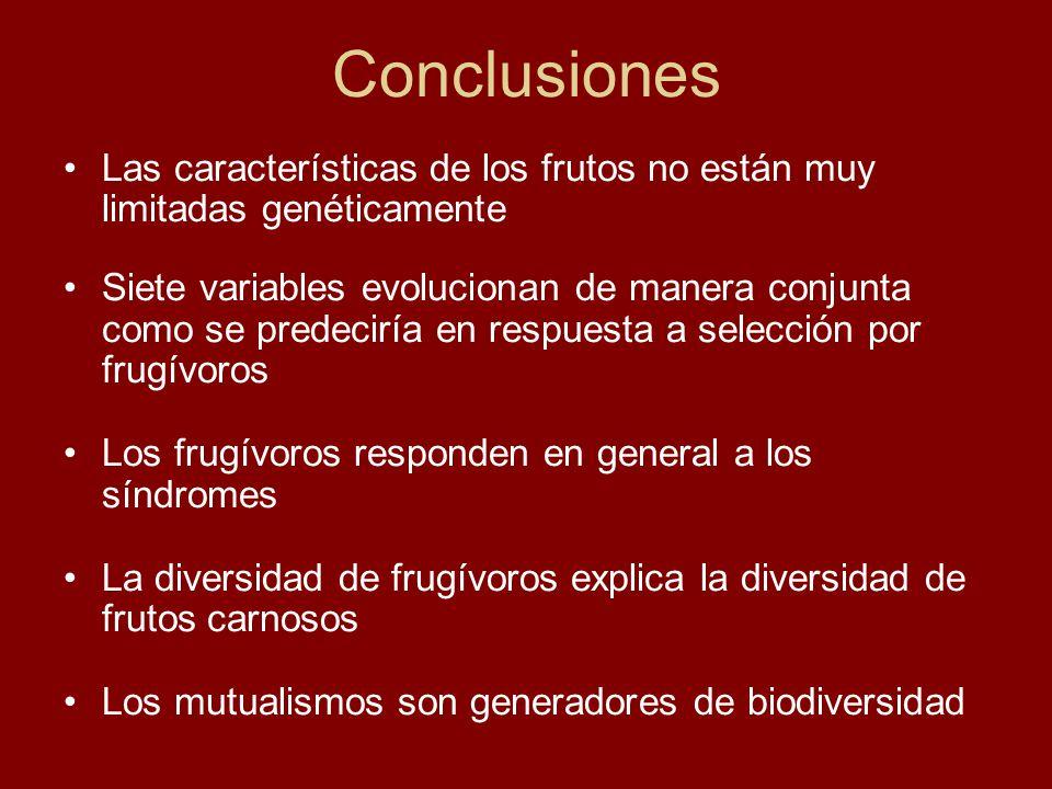 Conclusiones Las características de los frutos no están muy limitadas genéticamente.