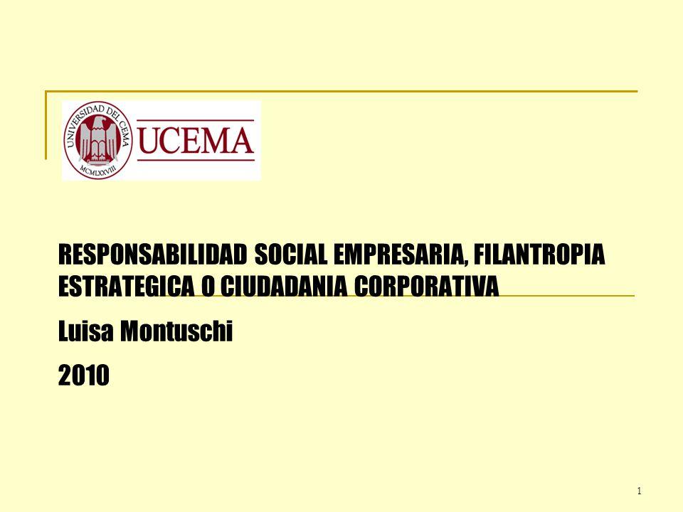 RESPONSABILIDAD SOCIAL EMPRESARIA, FILANTROPIA ESTRATEGICA O CIUDADANIA CORPORATIVA