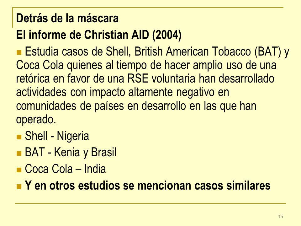 Detrás de la máscara El informe de Christian AID (2004)
