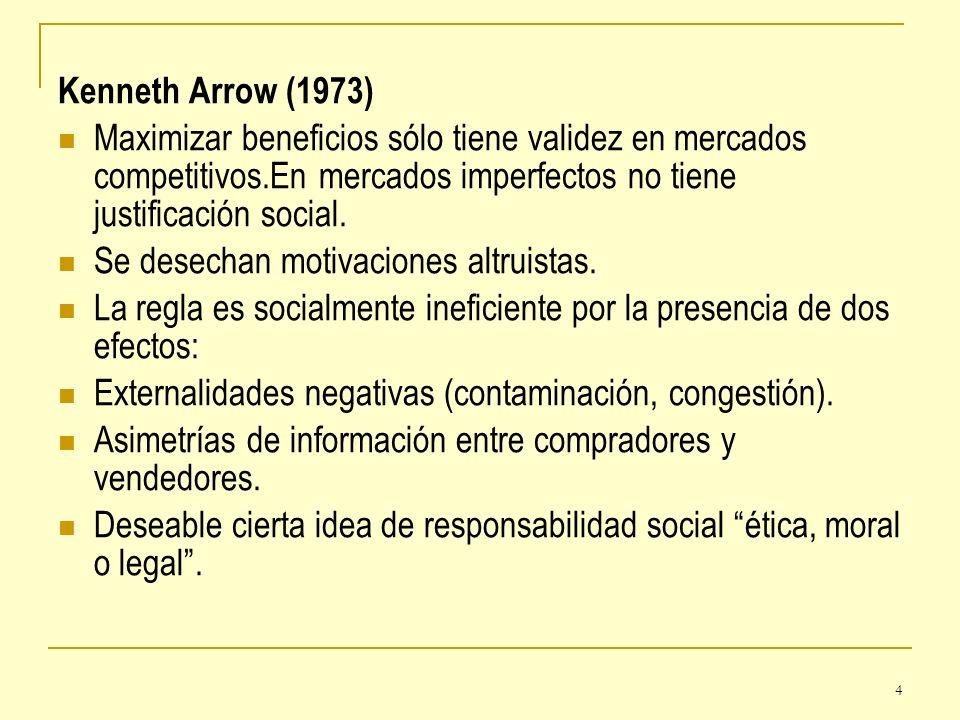 Kenneth Arrow (1973) Maximizar beneficios sólo tiene validez en mercados competitivos.En mercados imperfectos no tiene justificación social.