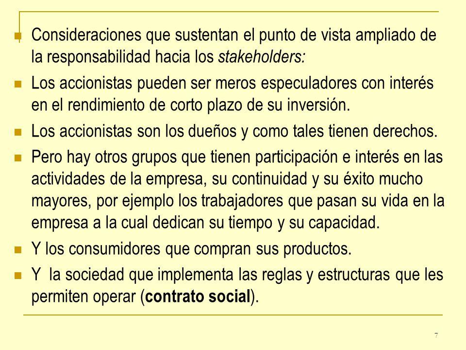 Consideraciones que sustentan el punto de vista ampliado de la responsabilidad hacia los stakeholders: