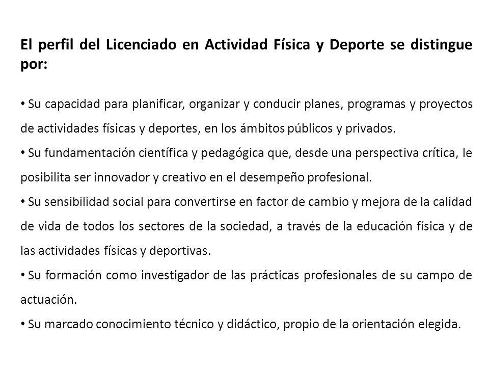 El perfil del Licenciado en Actividad Física y Deporte se distingue por: