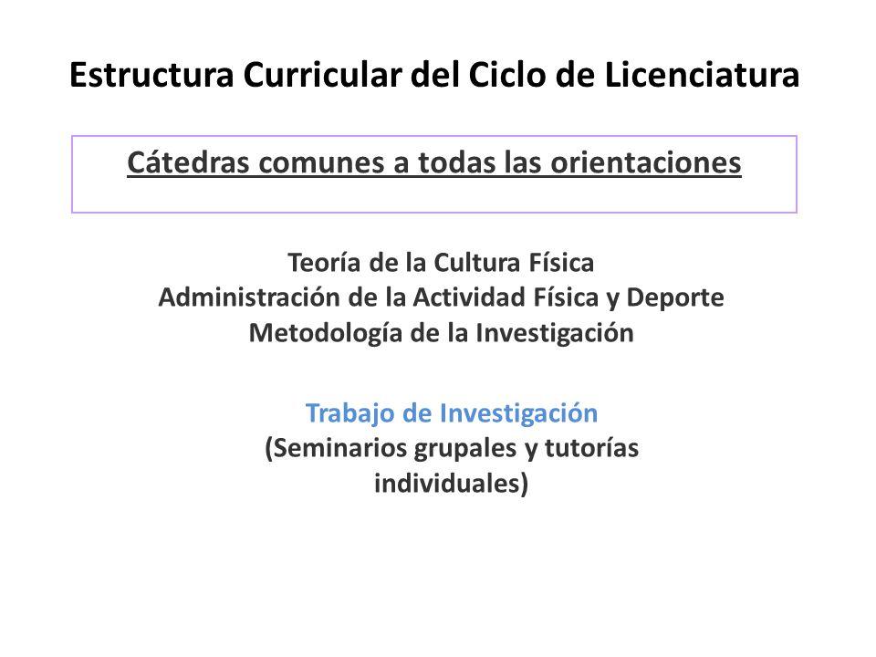 Estructura Curricular del Ciclo de Licenciatura