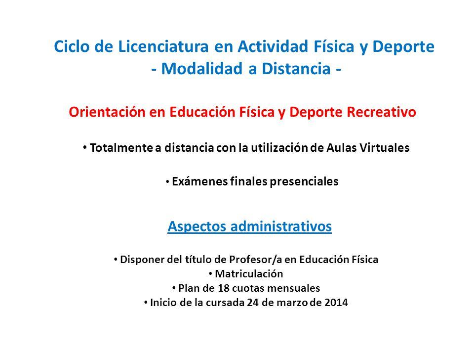 Ciclo de Licenciatura en Actividad Física y Deporte