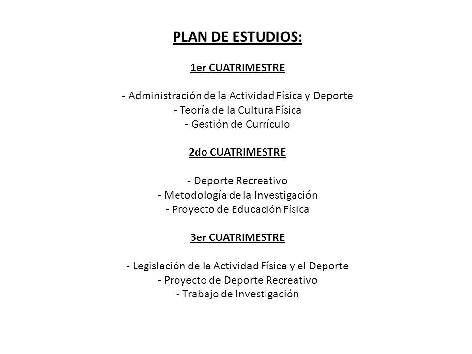 PLAN DE ESTUDIOS: 1er CUATRIMESTRE