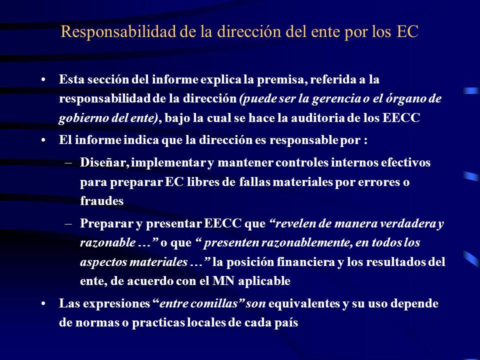 Responsabilidad de la dirección del ente por los EC