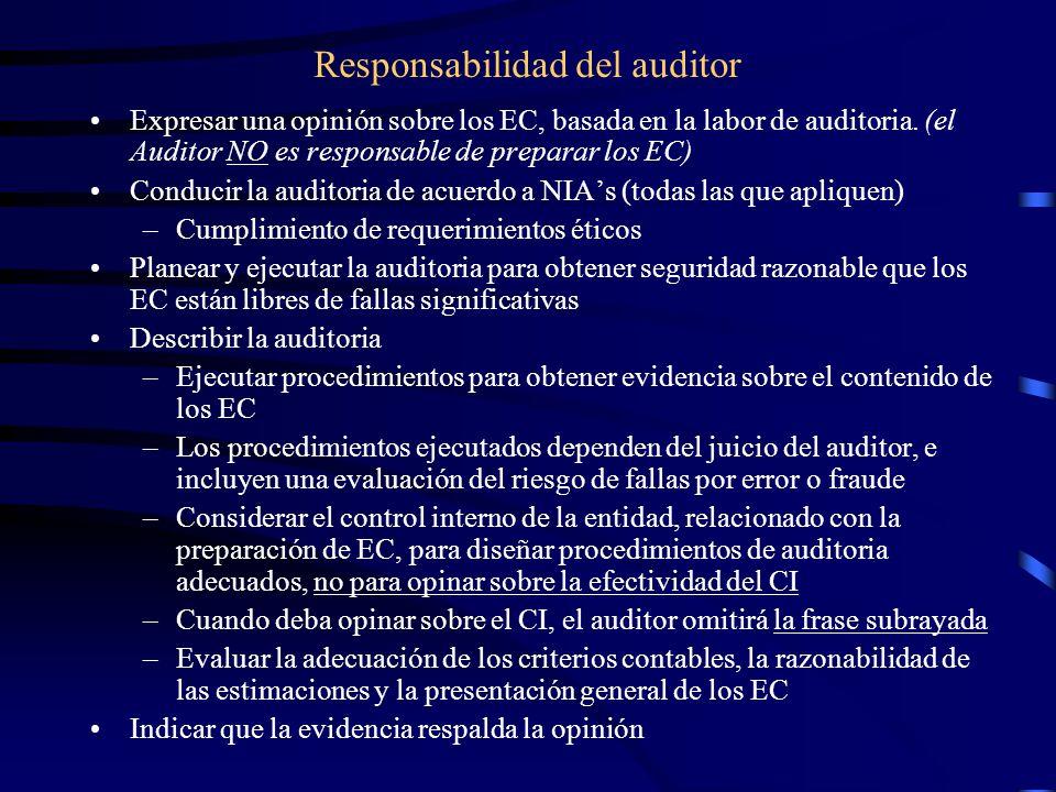 Responsabilidad del auditor