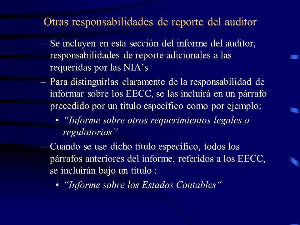 Otras responsabilidades de reporte del auditor