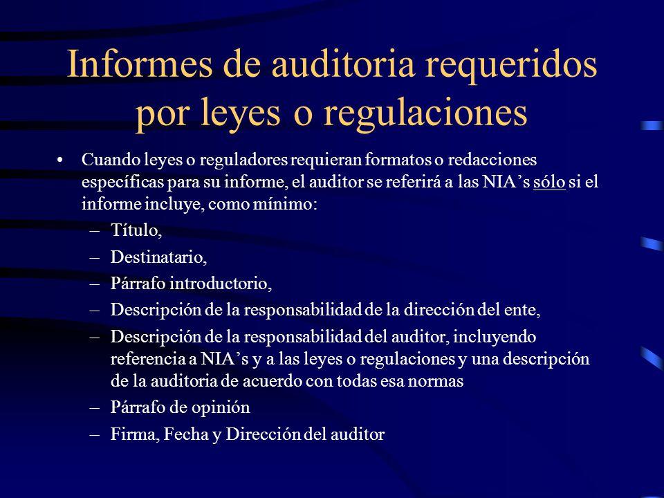 Informes de auditoria requeridos por leyes o regulaciones