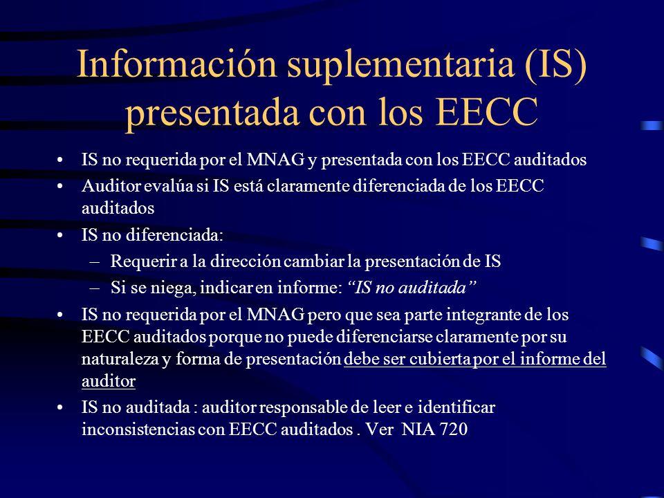 Información suplementaria (IS) presentada con los EECC