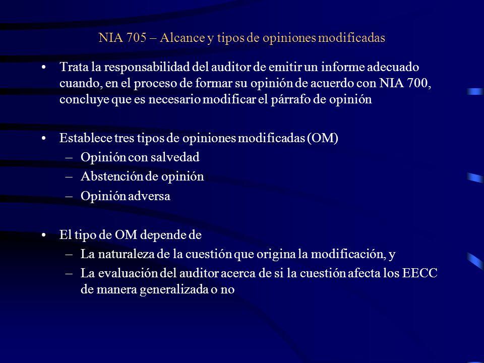 NIA 705 – Alcance y tipos de opiniones modificadas
