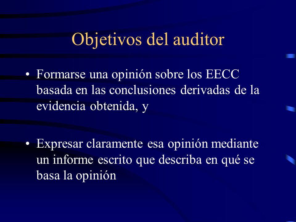 Objetivos del auditor Formarse una opinión sobre los EECC basada en las conclusiones derivadas de la evidencia obtenida, y.
