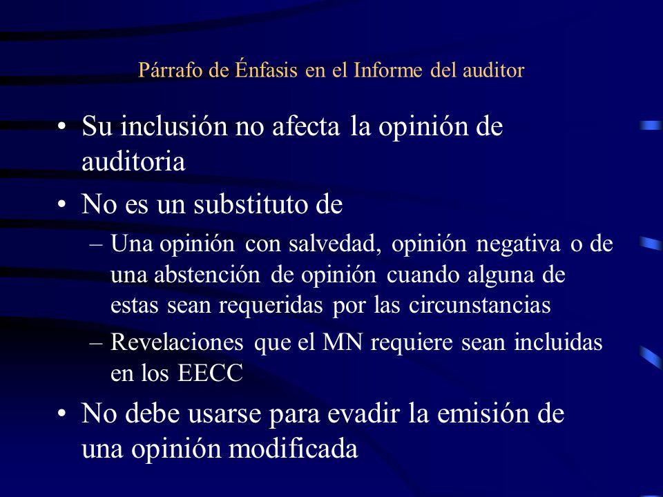 Párrafo de Énfasis en el Informe del auditor