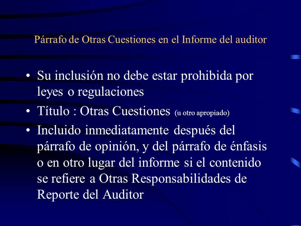 Párrafo de Otras Cuestiones en el Informe del auditor