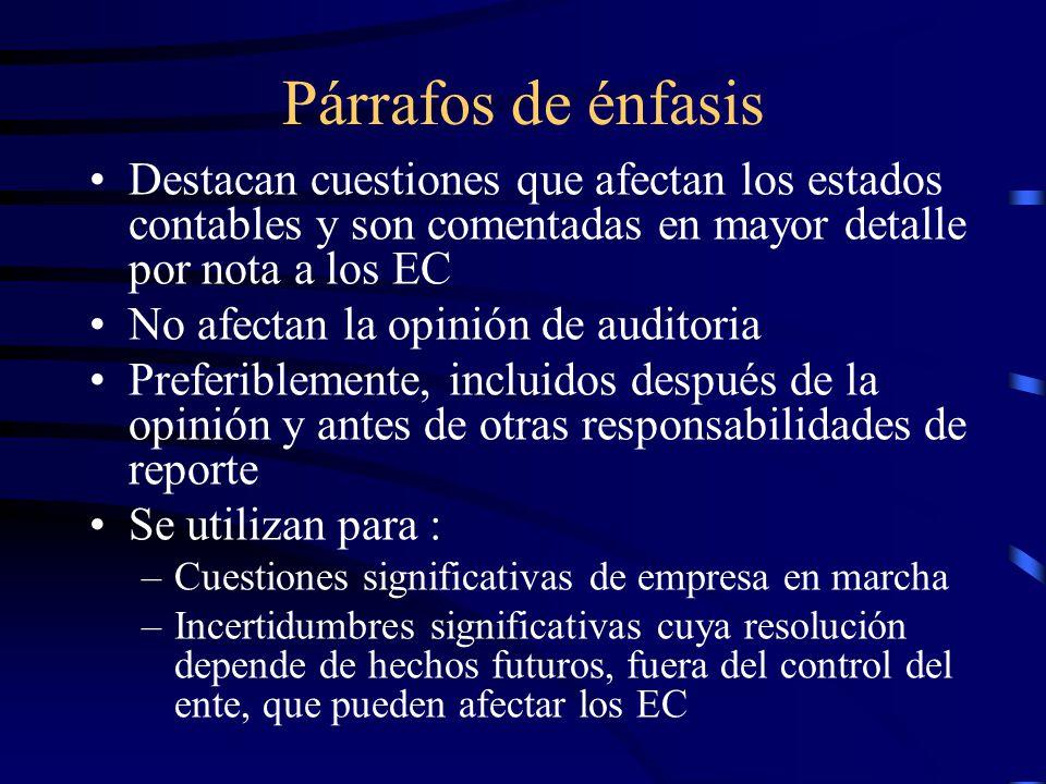 Párrafos de énfasis Destacan cuestiones que afectan los estados contables y son comentadas en mayor detalle por nota a los EC.