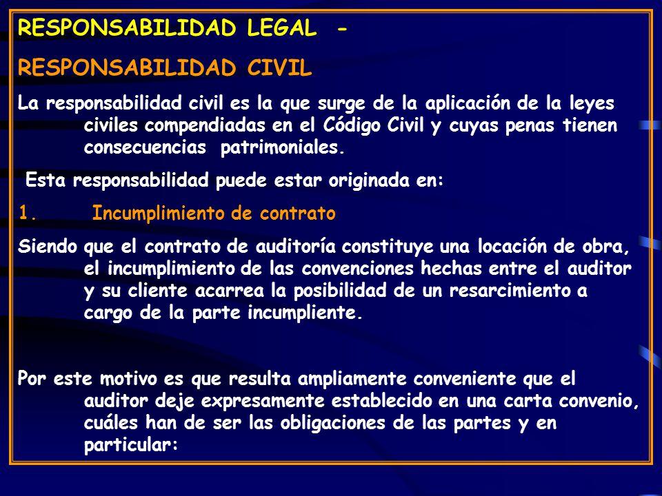 RESPONSABILIDAD LEGAL - RESPONSABILIDAD CIVIL