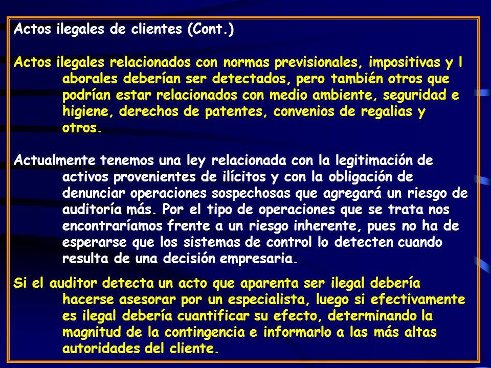 Actos ilegales de clientes (Cont.)